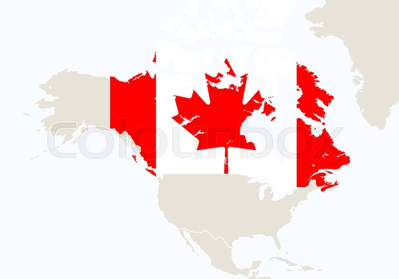 North America with highlighted Canada map Vector Illustration
