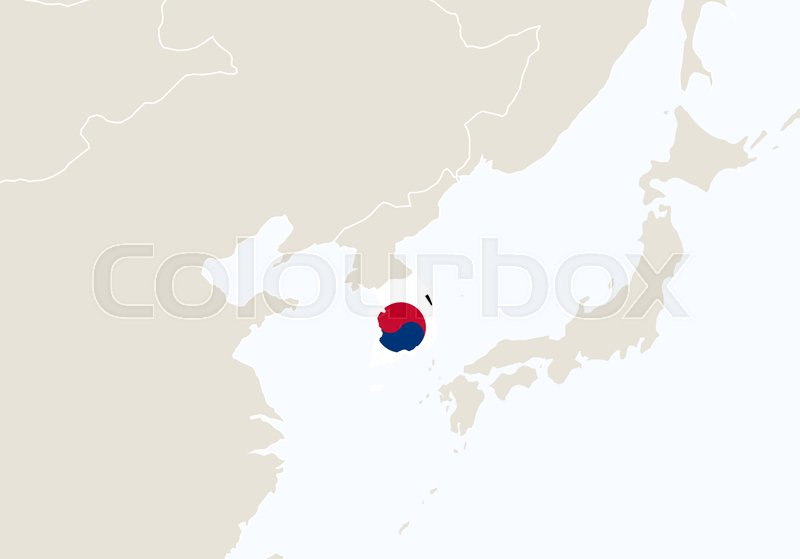 Asia with highlighted south korea map vector illustration stock asia with highlighted south korea map vector illustration vector gumiabroncs Choice Image