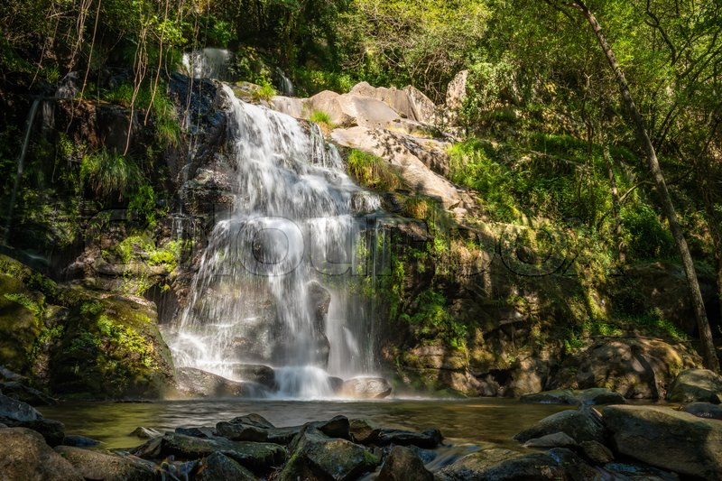 Stock image of 'Beautiful waterfall in Cabreia Portugal. Long exposure smooth effect.'
