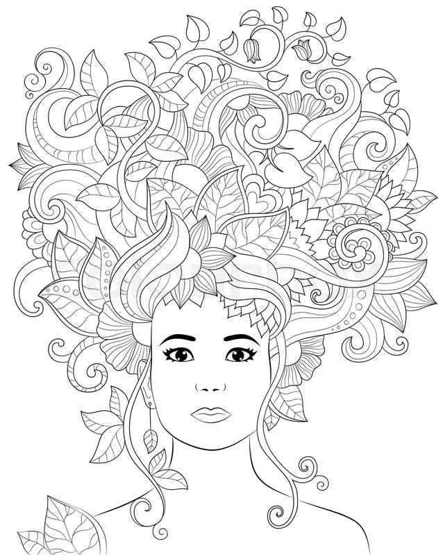 Vector Hand Drawn Illustration Woman With Floral Hair For Adult Coloring Book Freehand Sketch Anti Stress Page Doodle And