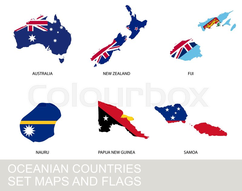 Oceania countries set, maps and flags | Stock vector | Colourbox