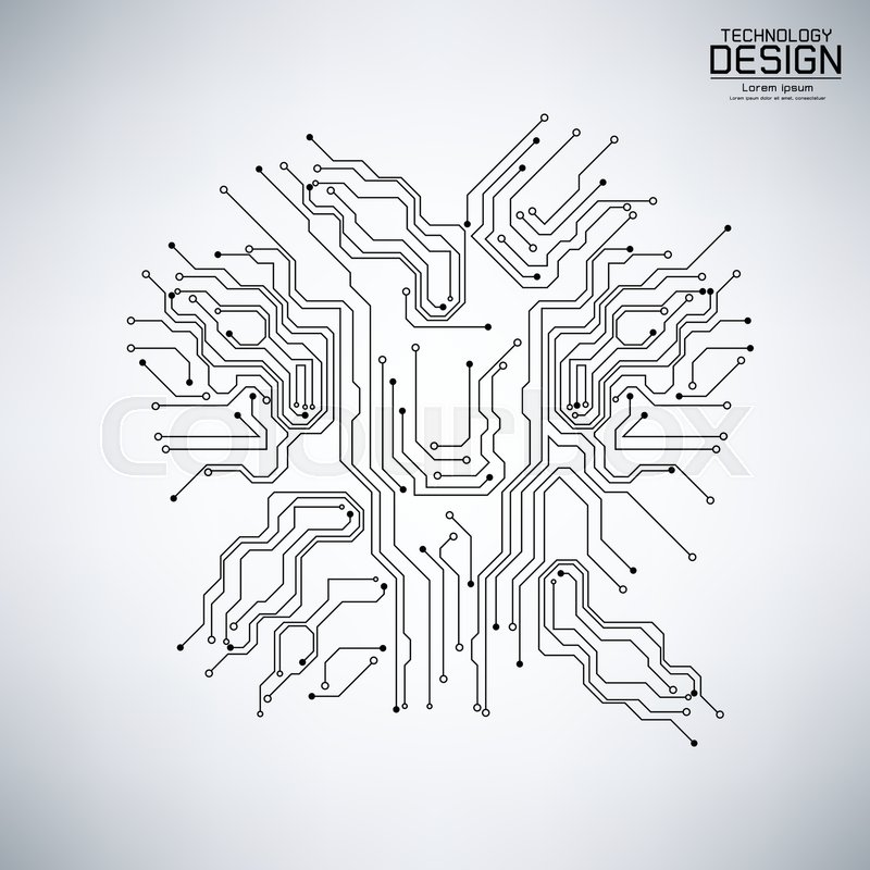Abstract technology vector with a circuit board black, on the gray ...