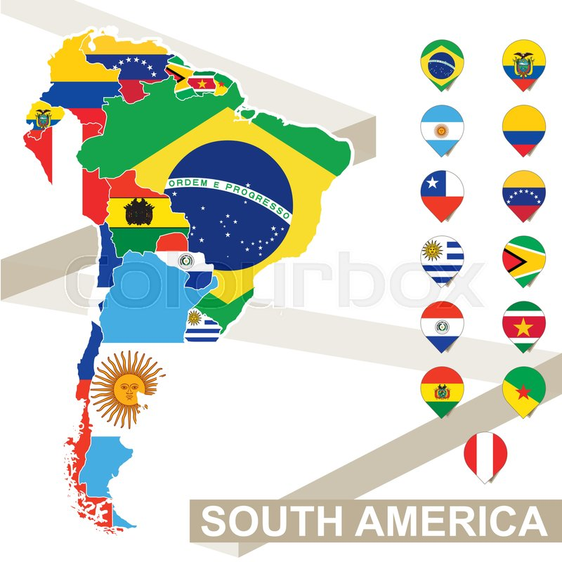 South America Map With Flags Colored In
