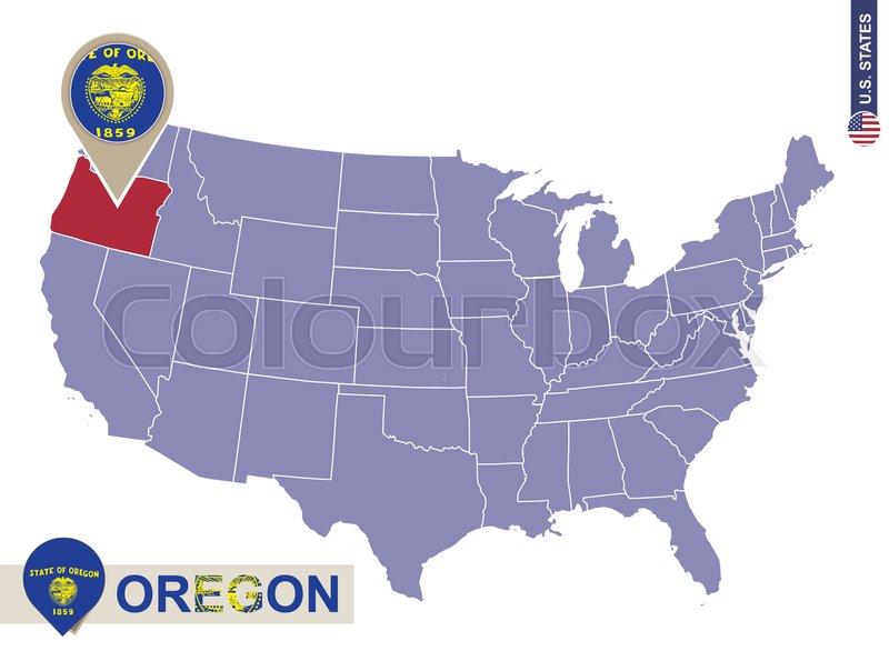 Oregon State On USA Map Oregon Flag And Map US States Stock - Usa map oregon state