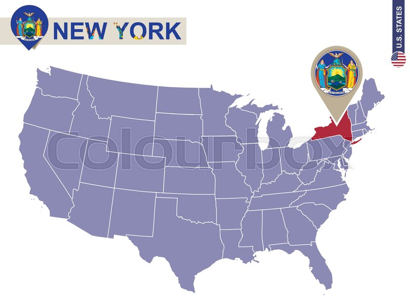New York State On USA Map New York Flag And Map US States - Usa map new york