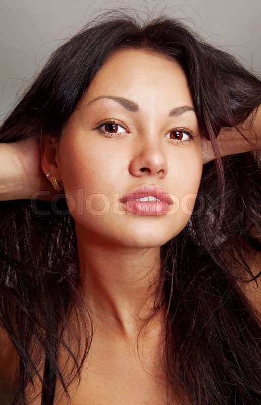 Stock image of 'closeup of beautiful face with makeup, cheerful glance'