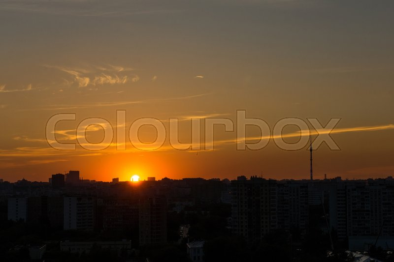 Stock image of 'Silhouette of Moscow at sunset, Ostankino TV tower, summer'