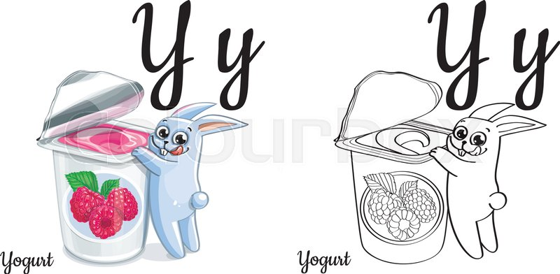 vector alphabet letter y for children education with funny cartoon bunny with raspberry yogurt isolated learn to read coloring page