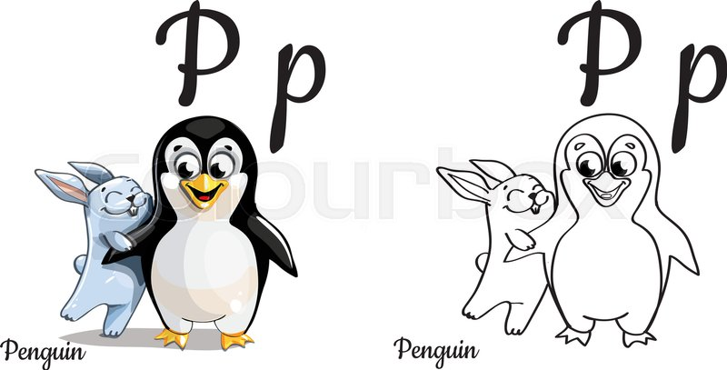 Vector Alphabet Letter P For Children Education With Funny Cartoon Penguin And Bunny Isolated Learn To Read Coloring Page