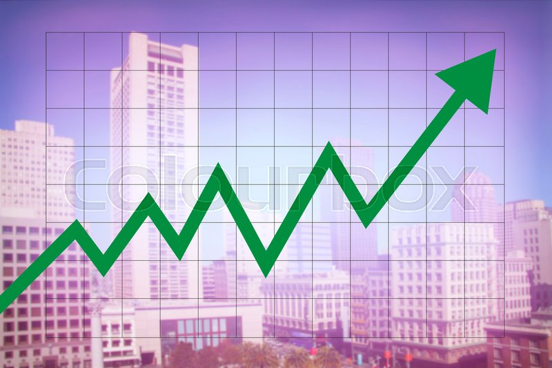 Stock image of 'Real estate market economy with increasing graph and green arrow going up with colorful blurred cityscape background'