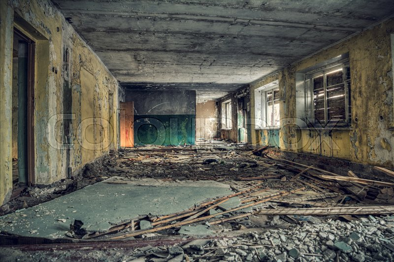 Stock image of 'Inside the gloomy old building.Empty and destroyed'