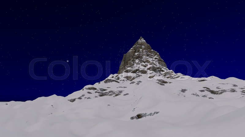 Stock image of 'Snowy mountain peak at night 3D render.'