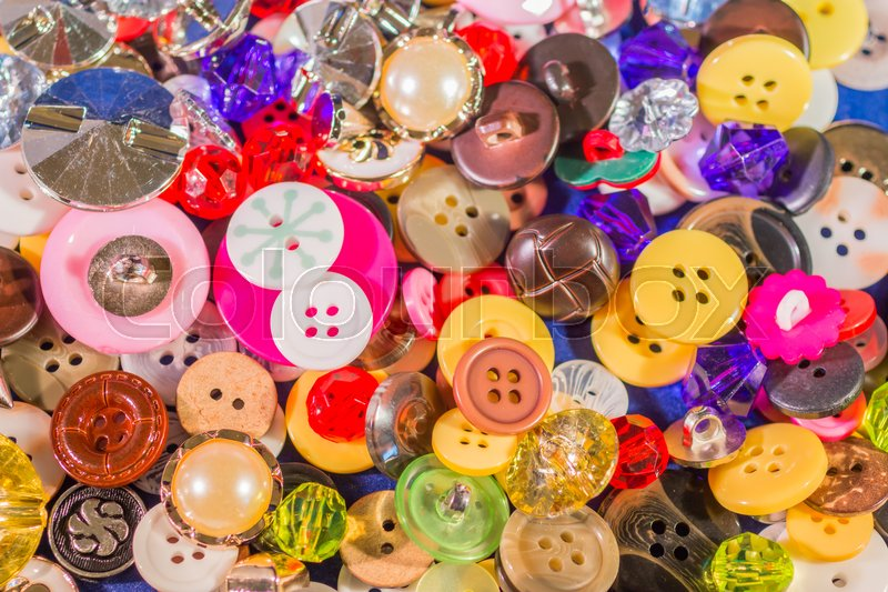 Stock image of 'Close up of Many Colorful Buttons, Buttons Background,'