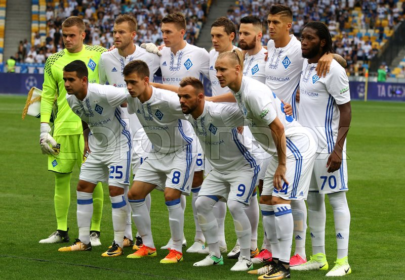 Editorial image of 'KYIV, UKRAINE - JULY 26, 2017: FC Dynamo Kyiv players pose for a group photo before UEFA Champions League 3rd qualifying round game against Young Boys at NSC Olimpiyskyi stadium in Kyiv, Ukraine'