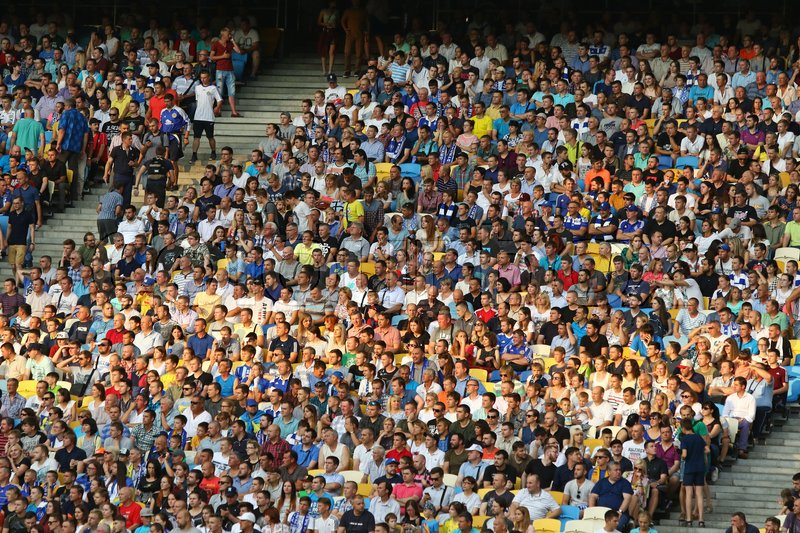 Editorial image of 'KYIV, UKRAINE - JULY 26, 2017: Crowded tribunes of NSC Olimpiyskyi stadium in Kyiv during UEFA Champions League 3rd qualifying round game between FC Dynamo Kyiv and Young Boys'