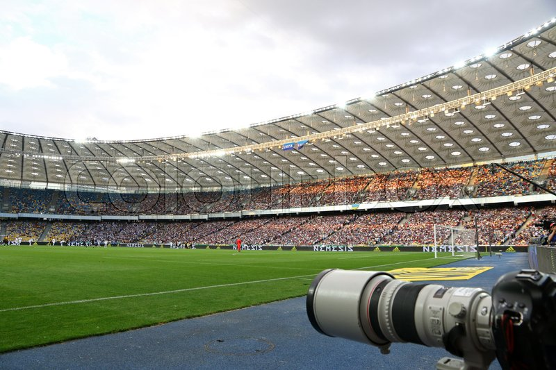 Editorial image of 'KYIV, UKRAINE - JULY 26, 2017: Panoramic view of NSC Olimpiyskyi stadium in Kyiv during UEFA Champions League 3rd qualifying round game between FC Dynamo Kyiv and Young Boys'