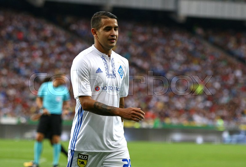 Editorial image of 'KYIV, UKRAINE - JULY 26, 2017: Derlis Gonzalez of FC Dynamo Kyiv walks on the pitch during UEFA Champions League 3rd qualifying round game against Young Boys at NSC Olimpiyskyi stadium in Kyiv'