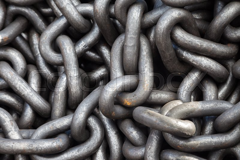 Stock image of 'Metal rust chain heap texture industrial abstract background '