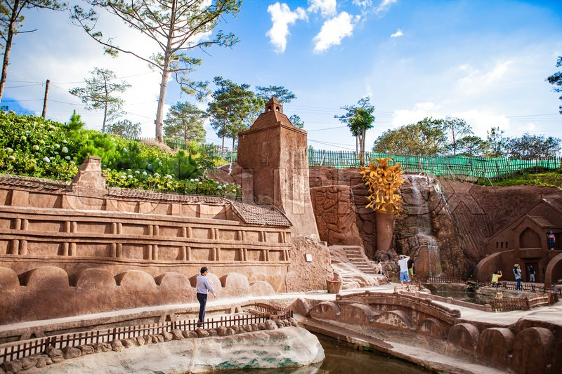 Editorial image of 'DALAT, VIETNAM - February 17, 2017: Amazing destination for Vietnam tourism, work of art know as sculpture tunnel from clay'