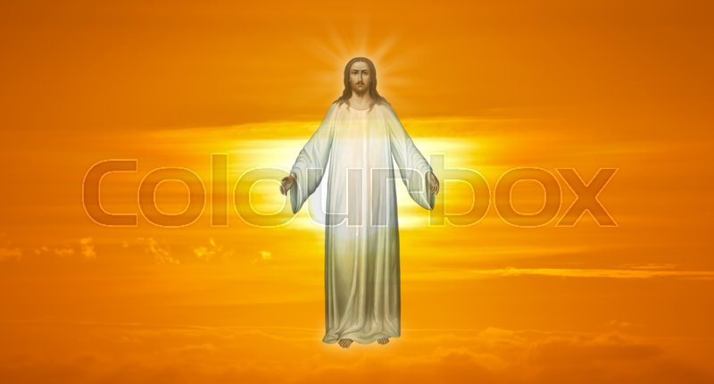 Stock image of 'Jesus Christ in Heaven religion concept panoramic view'