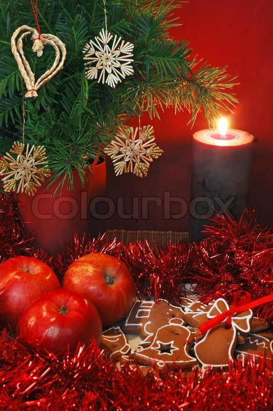 Christmas still life apples gingerbread and