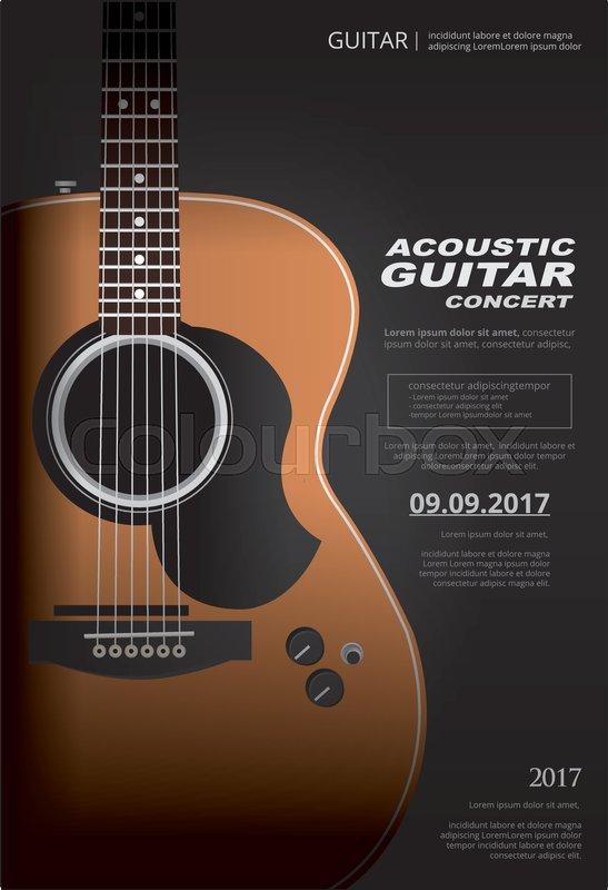 Acoustic Guitar Concert Poster       Stock vector   Colourbox