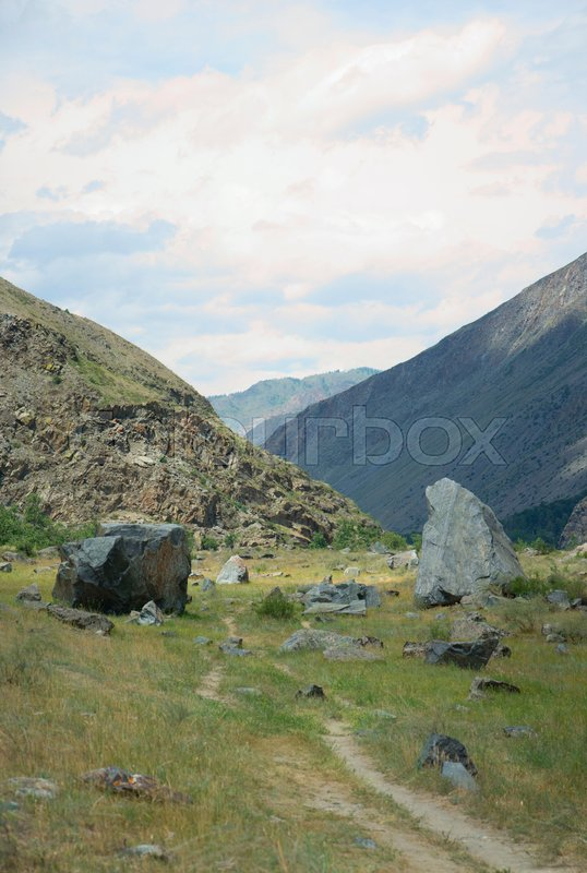Stock image of 'Valley of the river Chulyshman. Panorama of the big size. Altai Mountains, Siberia, Russia.'