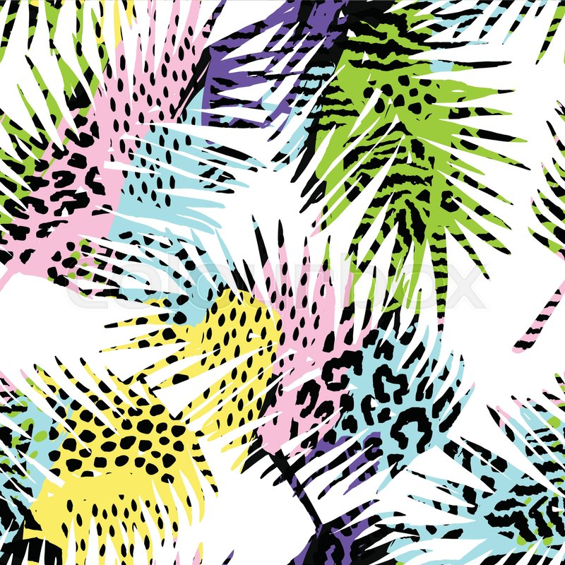 Trendy Seamless Exotic Pattern With Stock Vector