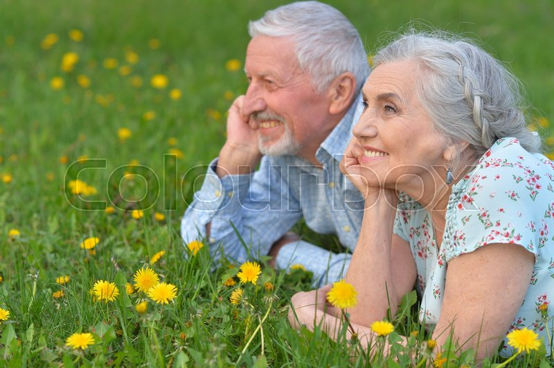 Stock image of 'happy senior couple lying on green meadow with dandelions'