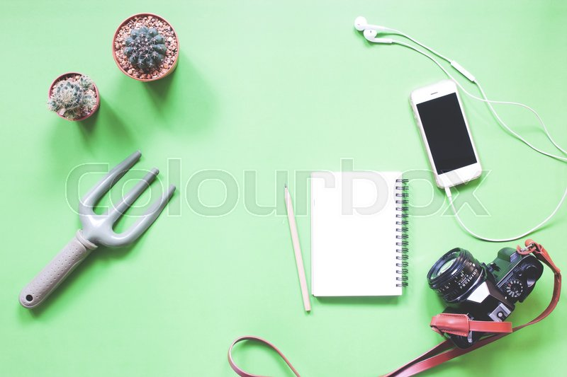 Stock image of 'Flat lay of greeney with cactus, smartphone, notebook and camera'