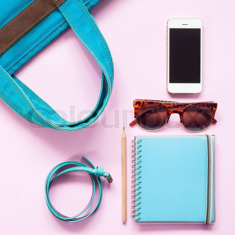 Stock image of 'Pastel color of woman accessories with smartphone, Flat lay of spring fashion concept'