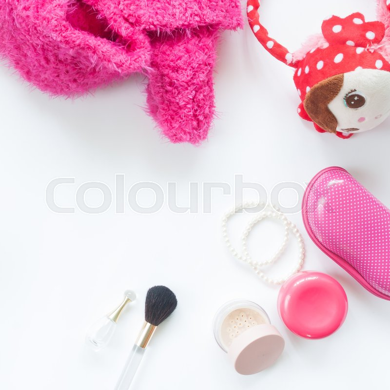 Stock image of 'Flat lay of woman essentials pink collection isolated on white background'