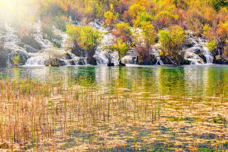 Stock image of 'Autumn view of the waterfall, lake and swamp land. Jiuzhaigou nature reserve, Jiuzhai Valley National Park, China.'