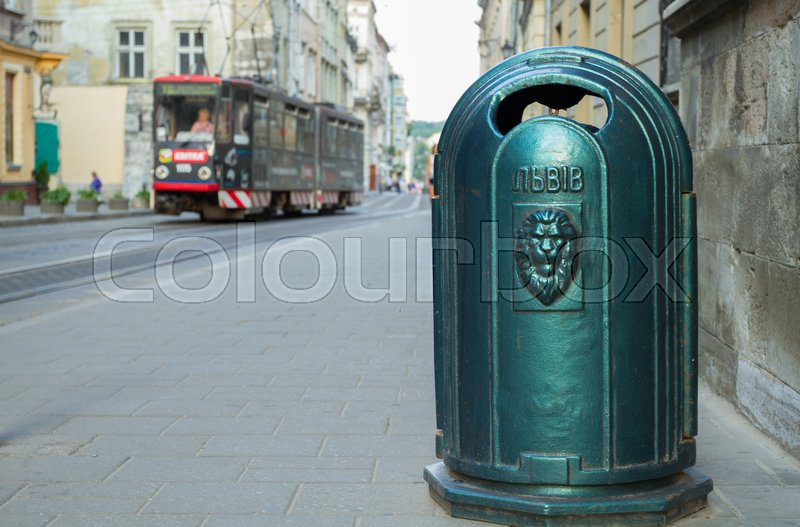 Stock image of 'Urn and tram in Lviv, Ukraine.'