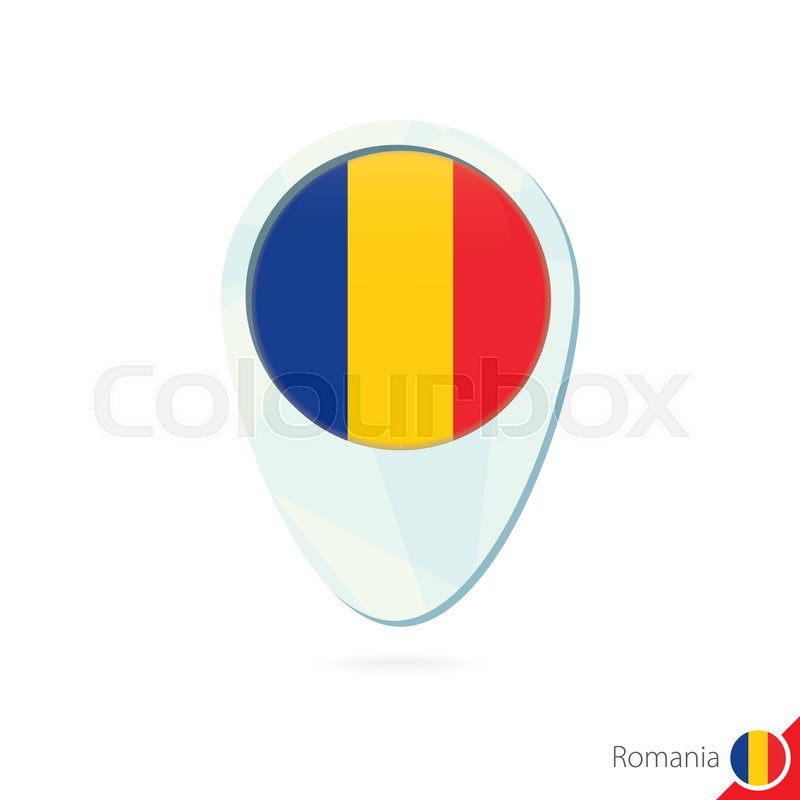 Romania flag location map pin icon on ... | Stock Vector | Colourbox