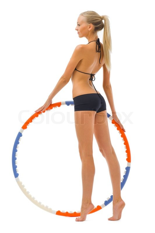 Woman is doing gym exercises with hoop | Stock Photo ...