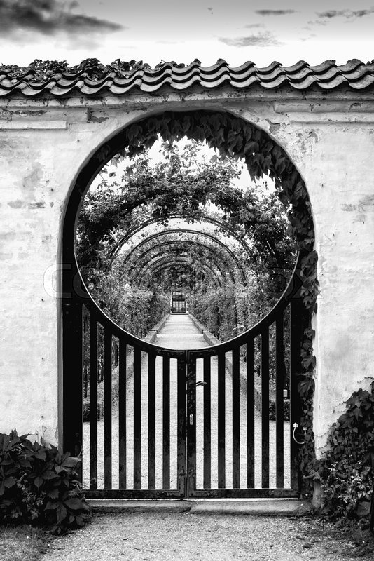 Editorial image of 'Archway at the entrance of the private part of the garden at Fredensborg slo'