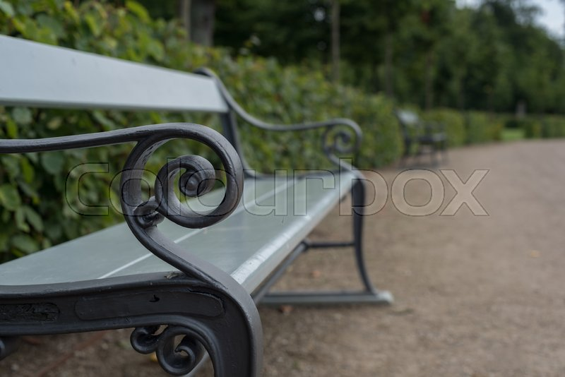 Stock image of 'Bench in the royal garden at Fredensborg castle'
