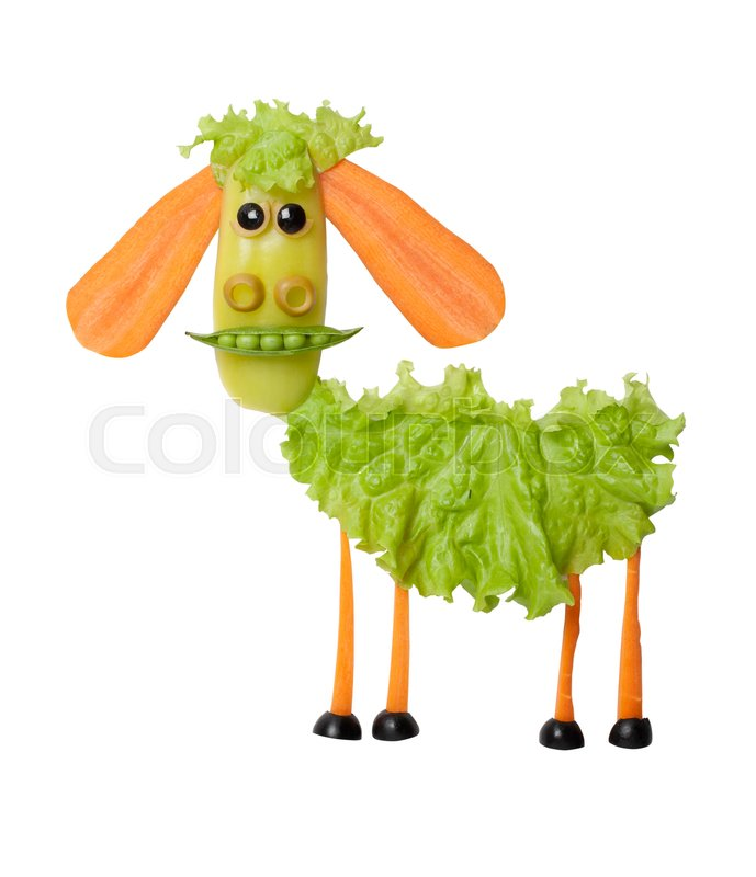 Stock image of 'Sheep made of fresh vegetables on isolated background'