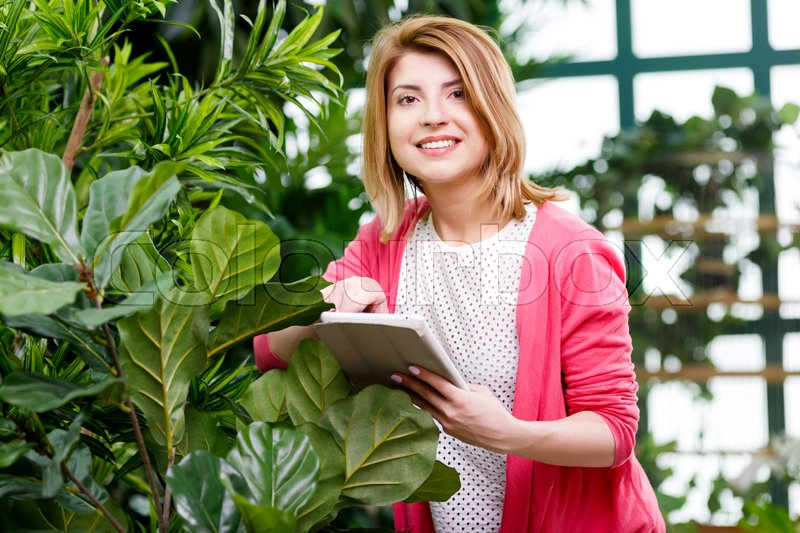 Stock image of 'Florist with tablet standing by ficus in flower shop'