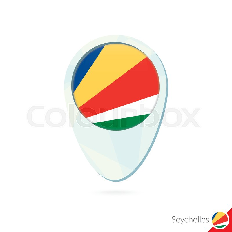 Seychelles Flag Location Map Pin Icon Stock Vector