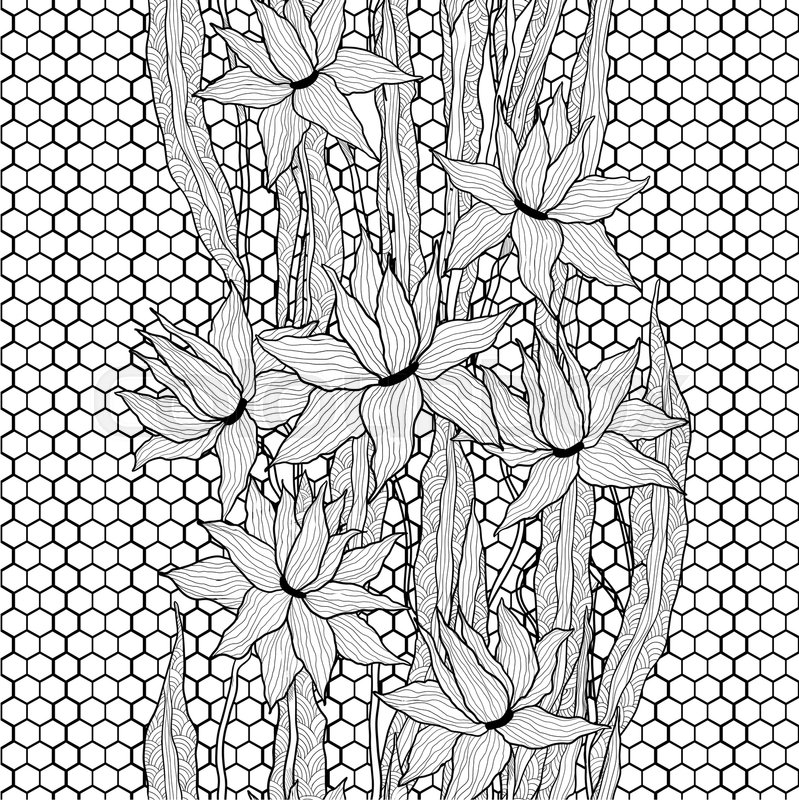 Stock image of 'Seamless floral pattern. Royal lilies flowers with stylized doodle leaves on lattice lace. Black and white graphics. Monochrome.'