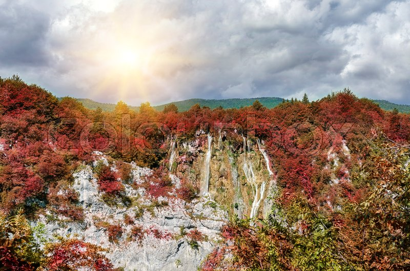 Stock image of 'Plitvice Lakes in the autumn. Beautiful Croatian nature.'