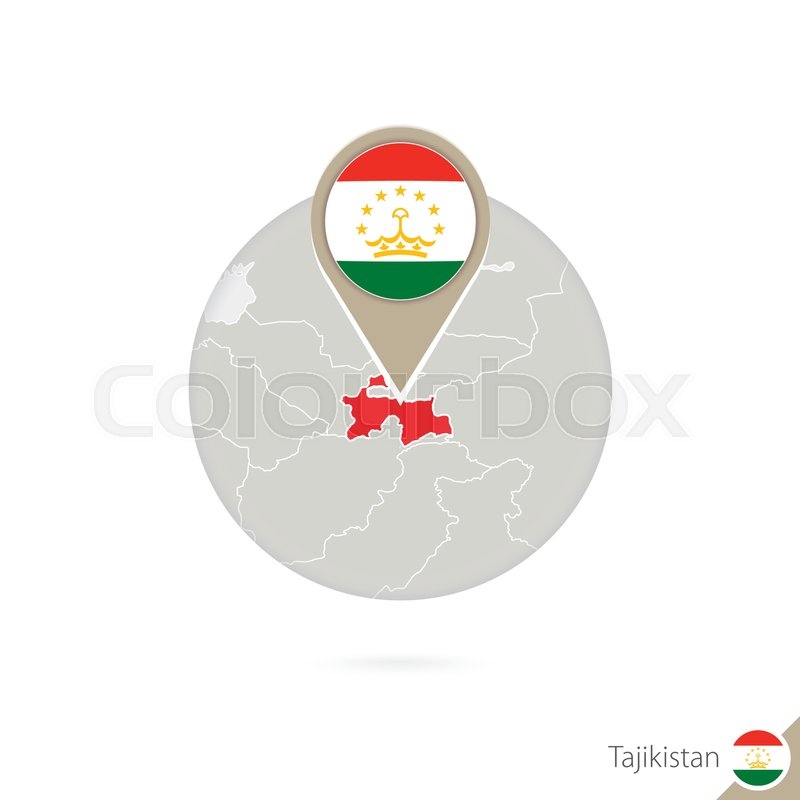 Tajikistan Map And Flag In Circle Map Of Tajikistan Tajikistan - Tajikistan map vector