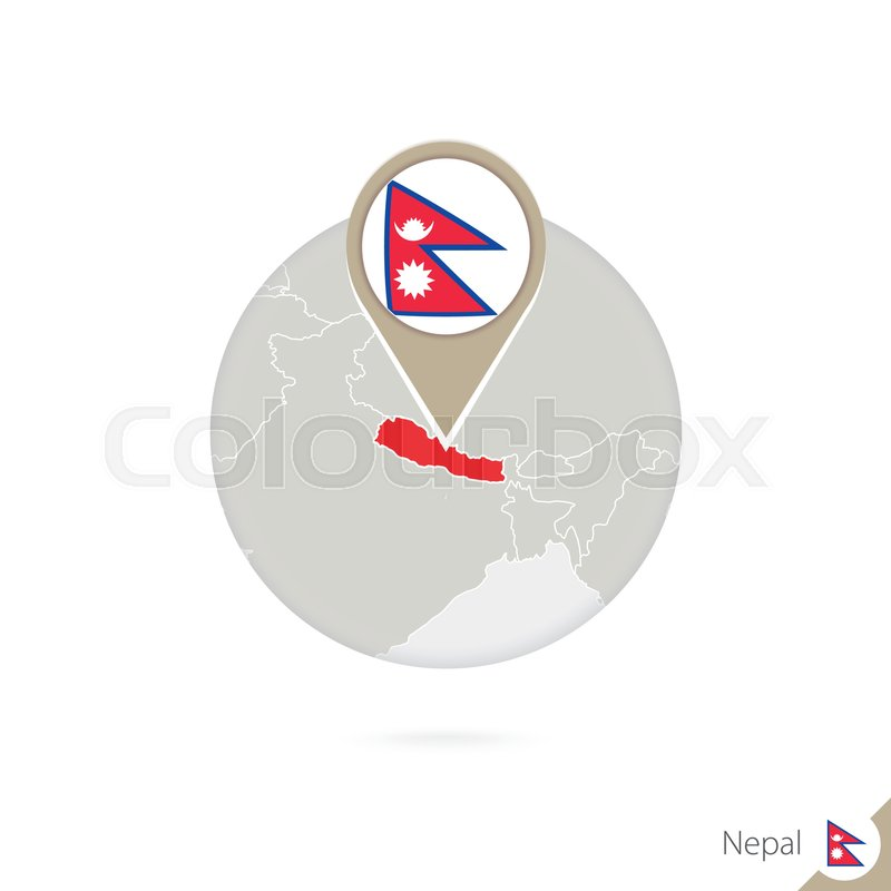 Nepal map and flag in circle. Map of ... | Stock vector | Colourbox
