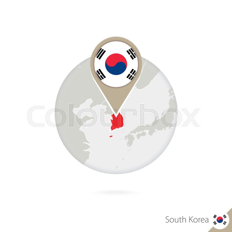 South Korea map and flag in circle. ... | Stock vector | Colourbox on