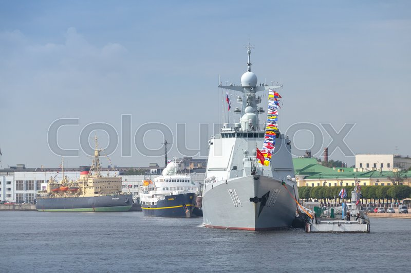 Editorial image of 'Saint-Petersburg, Russia - July 28, 2017: Chinese warship 174 stands moored on the Neva River. Rehearsal for the parade of Russian naval forces. Type 052D destroyer, Luyang III class, or Kunming'