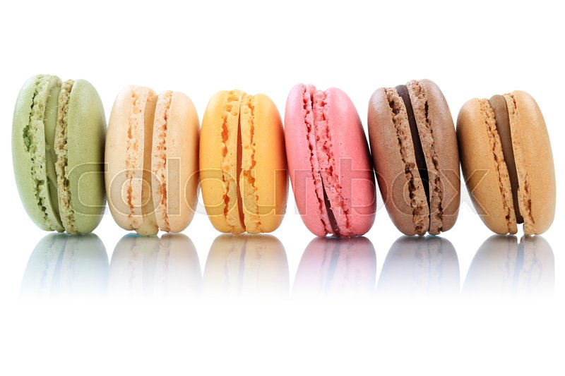 Stock image of 'Macarons macaroons cookies dessert from France in a row isolated on a white background'