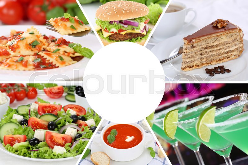Stock image of 'Food and drink menu eating collection collage beverages drinks meal meals restaurant set'