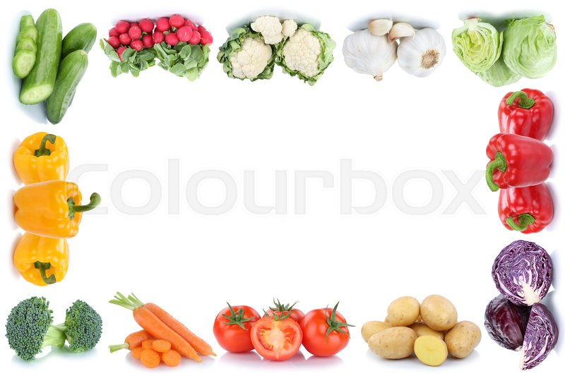 Stock image of 'Vegetables carrots tomatoes bell pepper lettuce potatoes copyspace copy space frame vegetable food isolated'
